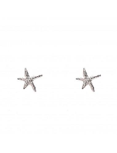 Pendientes Dormilona Plata Blanca Estrella De Mar Punki