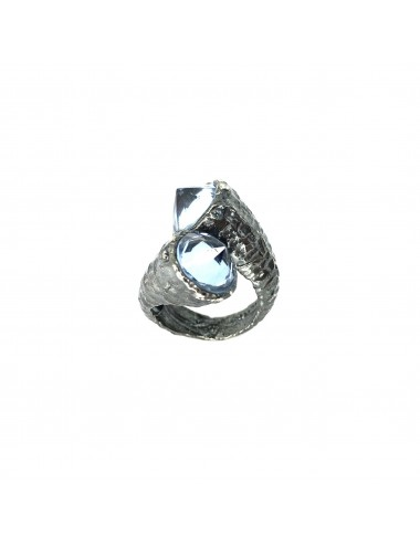Punki You & Me Ring in Dark Sterling Silver with Blue Circonita