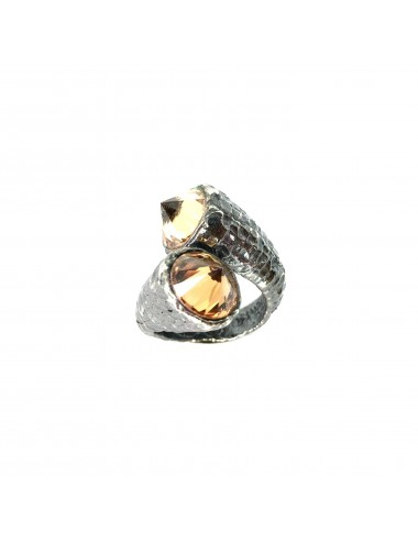 Punki You & Me Ring in Dark Sterling Silver with Beige Circonita