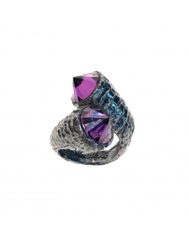 Punki You & Me Ring in Dark Sterling Silver with Purple Circonita