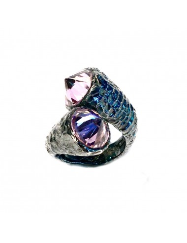Punki You & Me Ring in Dark Sterling Silver with Pink Circonita
