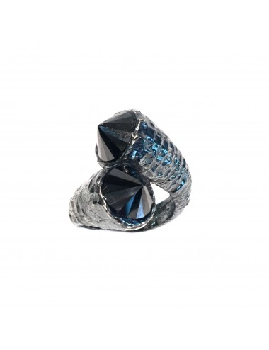Punki You & Me Ring in Dark Sterling Silver with Black Circonita