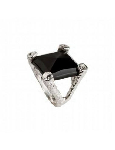 Punki Seal Ring in Dark Sterling Silver with large Square Onix
