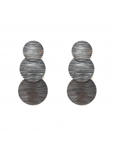 Architecture  3 Circles Earrings in Dark Sterling Silver