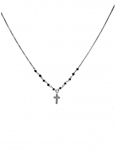 Punki Rosary Necklace in Dark Sterling Silver with Black Spinels