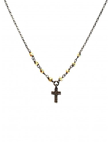 Punki Rosary Necklace in Dark Sterling Silver with Pyrite