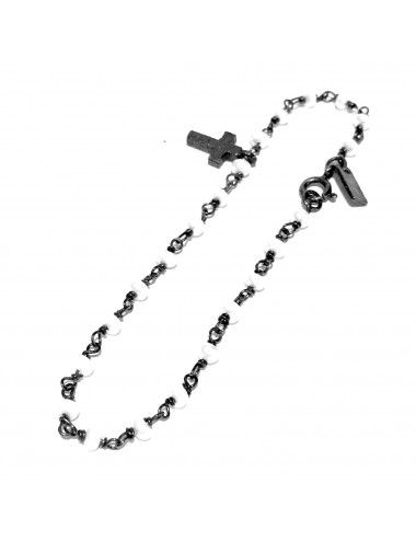 Punki Rosary Bracelet in Dark Sterling Silver with Pearls