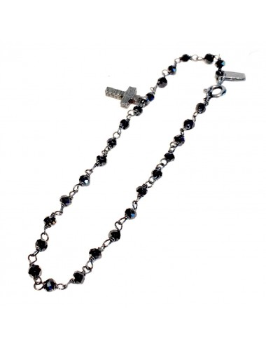 Punki Rosary Bracelet in Dark Sterling Silver with Black Spinels