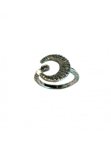 Punki Moon thin Ring in Dark Sterling Silver
