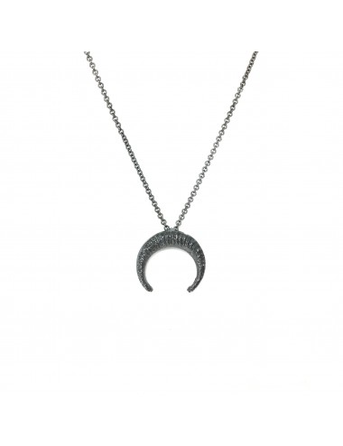 Punki Moon Down Necklace in Dark Sterling Silver