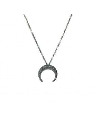 Punki Moon Down Necklace in Dark Sterling Silver