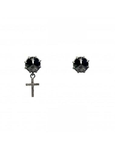 Punki Cross Earrings in Dark Sterling Silver with Black Circonita
