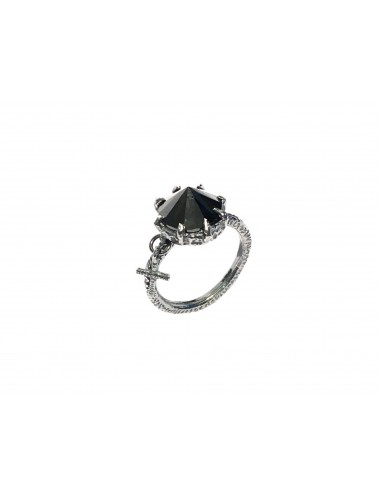Punki Cross Ring in Dark Sterling Silver with Black Circonita