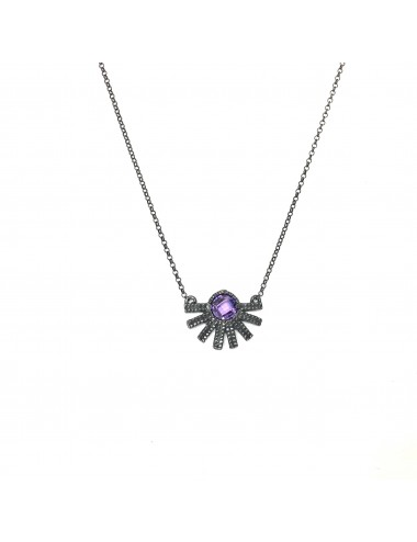 Punki Sunset Necklace in Dark Sterling Silver with Purple Circonita
