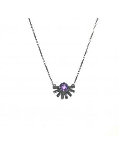 Punki Sunset Necklace in Dark Sterling Silver with Purple Circonita