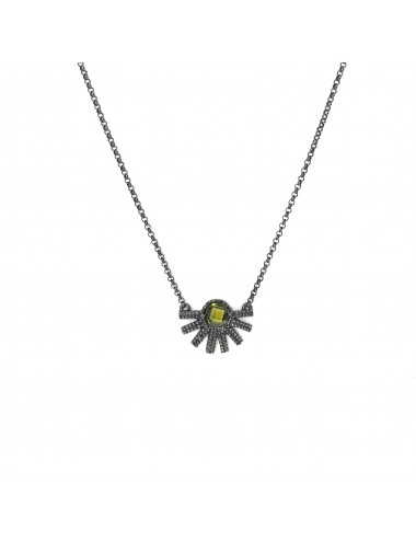 Punki Sunset Necklace in Dark Sterling Silver with Green Circonita