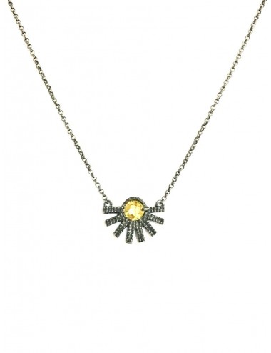 Punki Sunset Necklace in Dark Sterling Silver with Yellow Circonita