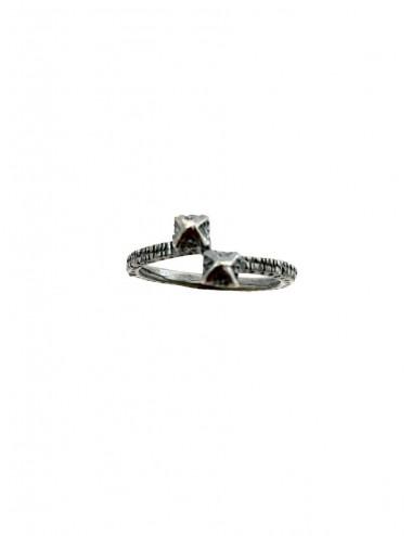 Punki Tacks Crossed Ring in Dark Sterling Silver