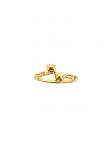 Punki Tacks Crossed Ring in Sterling Silver Vermeil