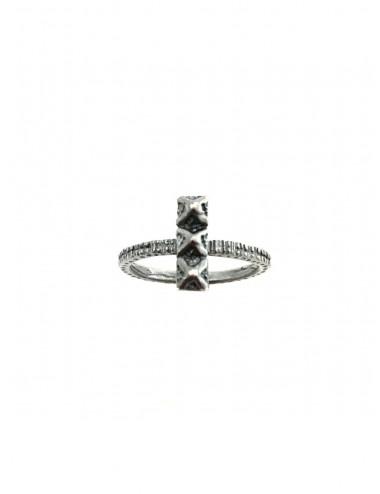 Punki Tacks 3 Bars Ring in Dark Sterling Silver