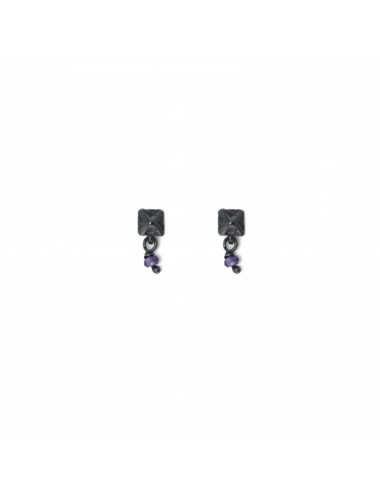 Punki Tacks Button Earrings in Dark Sterling Silver with Purple Circonita