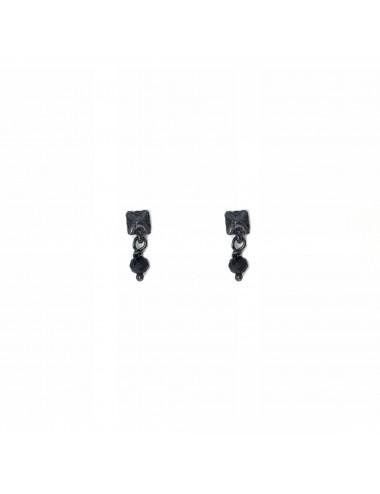 Punki Tacks Button Earrings in Dark Sterling Silver with Black Circonita