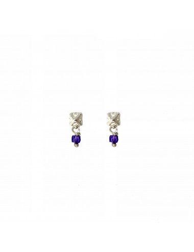 Punki Tacks Button Earrings in Sterling Silver with Purple Circonita