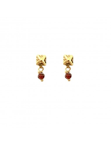 Punki Tacks Button Earrings in Sterling Silver Vermeil with Red Circonita