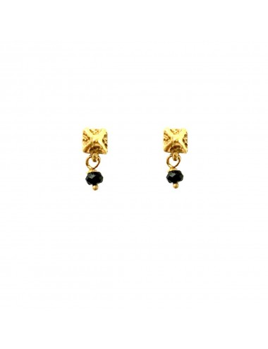 Punki Tacks Button Earrings in Sterling Silver Vermeil with Black Circonita