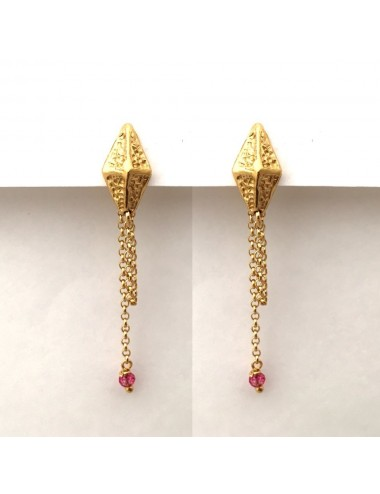 Punki RombhusTacks Earrings in Sterling Silver Vermeil with Fuchsia Circonitas