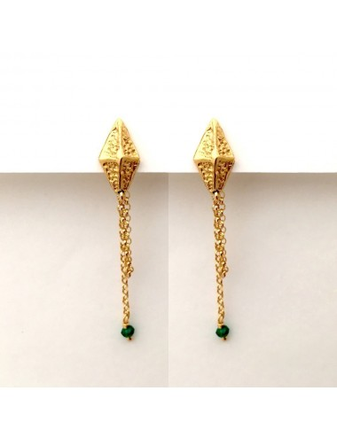 Pendientes Oro Tachuelas Rombo Con Circonitas Verdes Punki