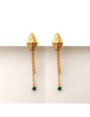 Punki RombhusTacks Earrings in Sterling Silver Vermeil with Green Circonitas