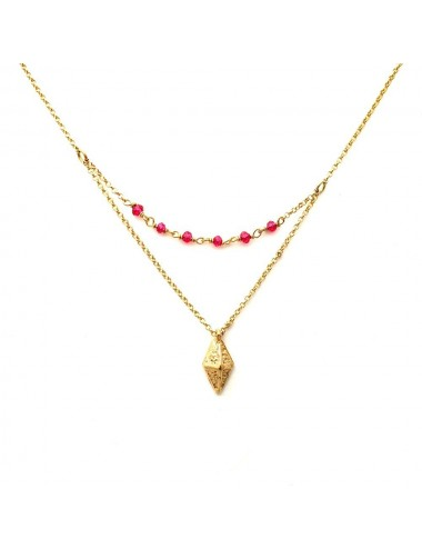 Punki RombhusTacks Necklaces in Sterling Silver Vermeil with Fuchsia Circonitas