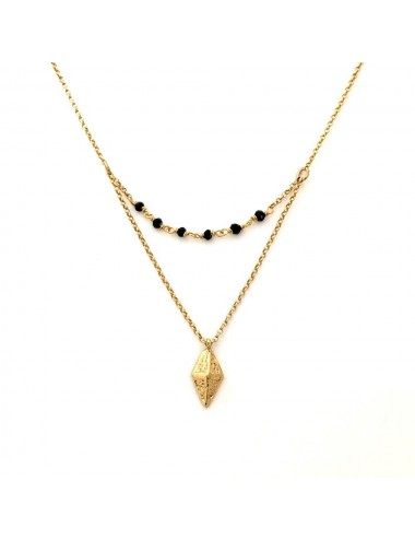 Punki RombhusTacks Necklaces in Sterling Silver Vermeil with Black Spinels