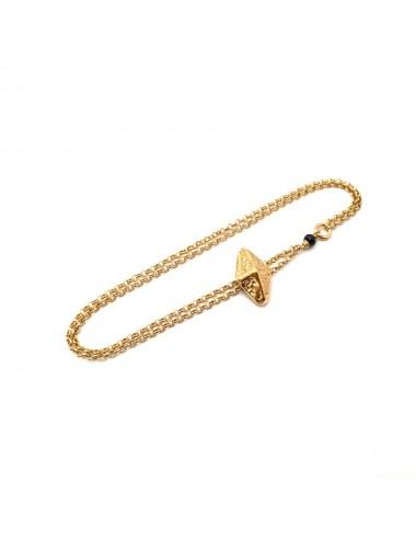 Punki RombhusTacks Bracelet in Sterling Silver Vermeil with Black Spinels