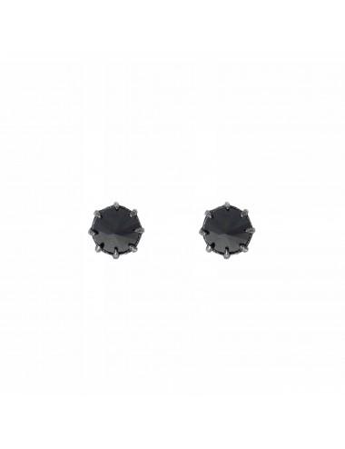 Pendientes Plata Oxidada Con Circonita Negra Punki
