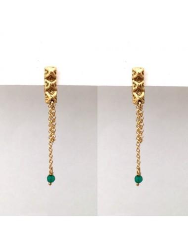Punki Tacks Bar Earrings in Sterling Silver Vermeil with Green Circonitas
