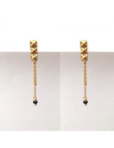Punki Tacks Bar Earrings in Sterling Silver Vermeil with Black Spinels