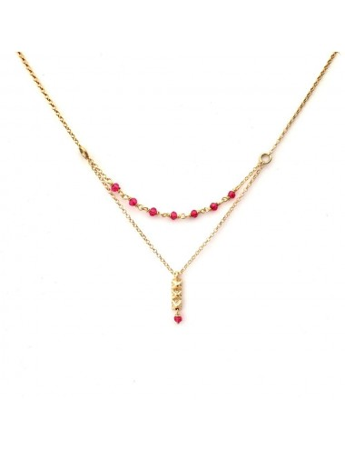 Punki Tacks Bar Necklace in Sterling Silver Vermeil with Fuchsia Circonitas