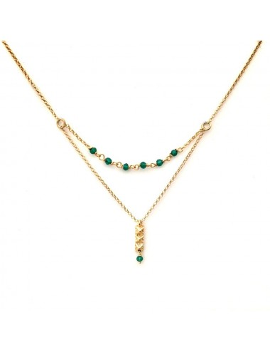 Punki Tacks Bar Necklace in Sterling Silver Vermeil with Green Circonitas