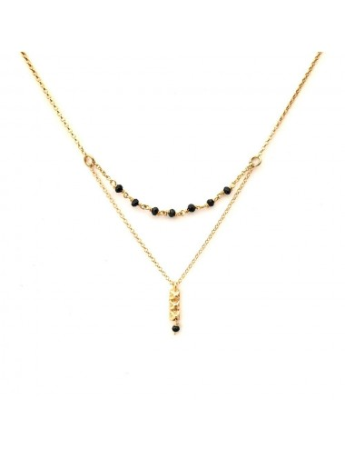 Punki Tacks Bar Necklace in Sterling Silver Vermeil with Black Spinels