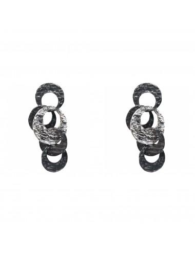 Satellite Moon Earrings in Dark Sterling Silver
