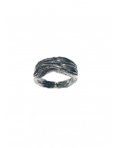 Satellite Waves Ring in Dark Sterling Silver