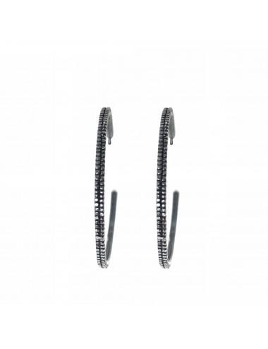 Satellite big Hoop Criollas Earrings in Dark Sterling Silver