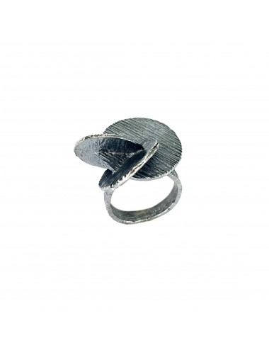 Architecture Big Cross Discs Ring in Dark Sterling Silver