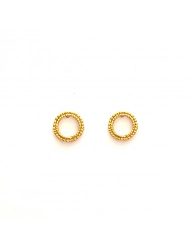 Satellite Circle Button Earrings in Sterling Silver Vermeil