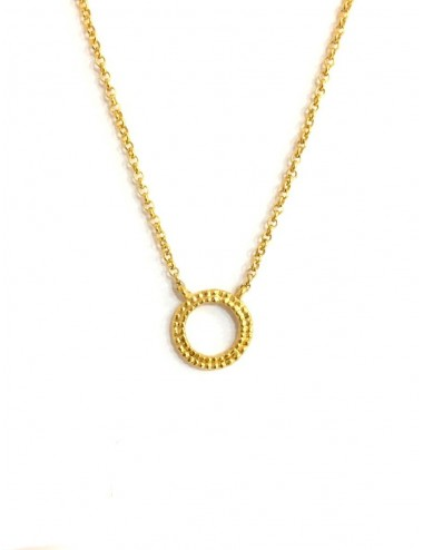 Satellite Circle Button Necklace in Sterling Silver Vermeil