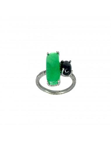 Sortija Plata Oxidada Rectangular Con Jade Verde Shanghai