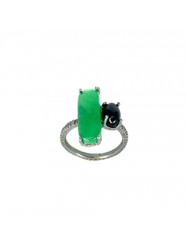 Shanghai Rectangular Ring in Dark Sterling Silver with Green Jade