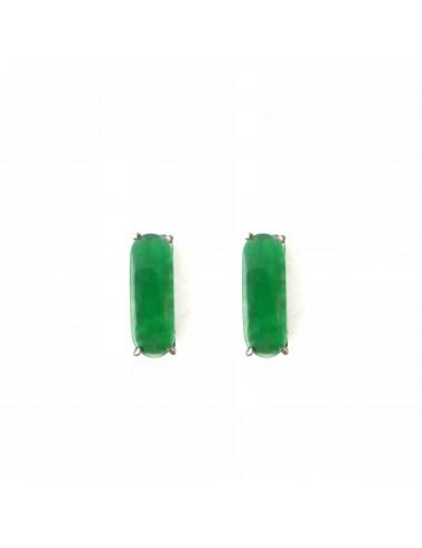 Shanghai Bar Earrings in Dark Sterling Silver with Green Jade